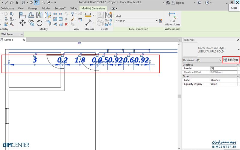 تنظیمات خط اندازه Dimension در رویت Revit چگونه است